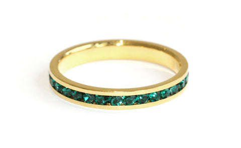 Emerald green stacking ring | Gold