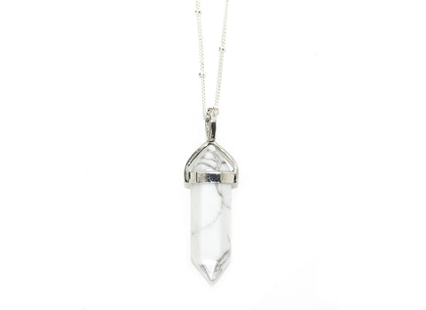 White marble pendant necklace | silver