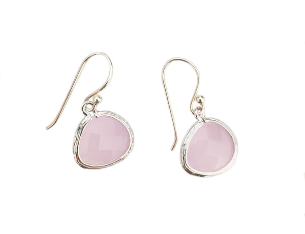Pink crystal earrings | Silver