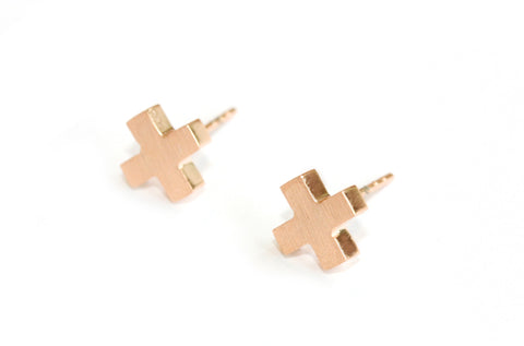 Cross earrings | rose gold