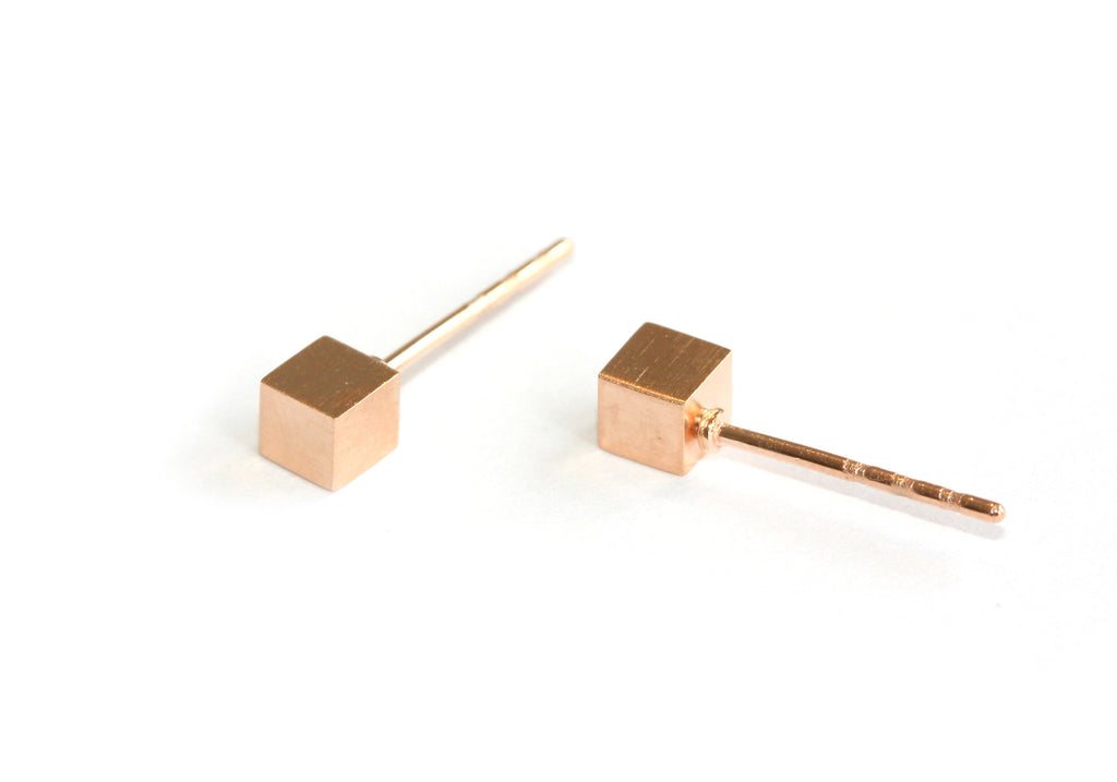 The Cube studs | rose gold
