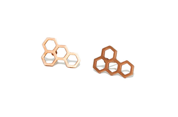 Honeycomb studs | rose gold