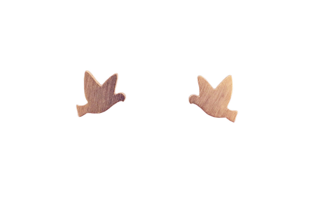 Tiny bird earrings | rose gold