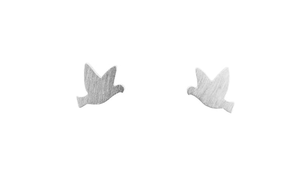 Tiny bird earrings | silver