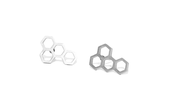 Honeycomb studs | silver