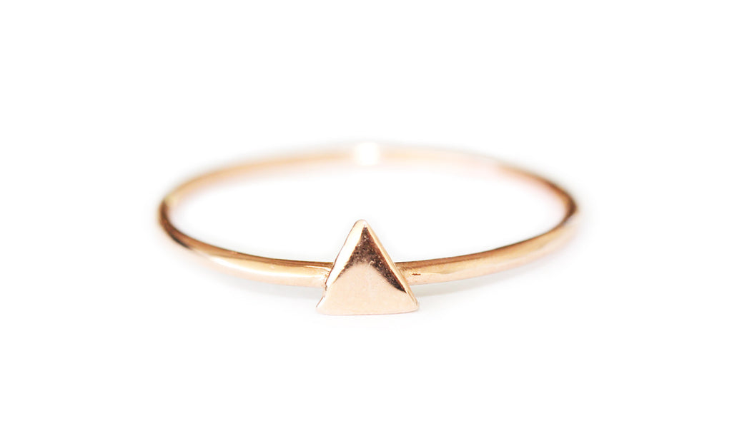 Rose gold triangle ring