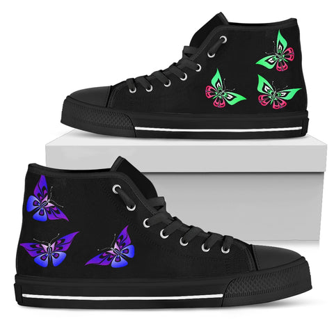 Butterfly Women's High Top Canvas Shoes