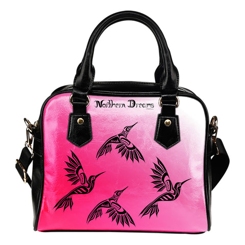 Hummingbird Pink Shoulder Handbag