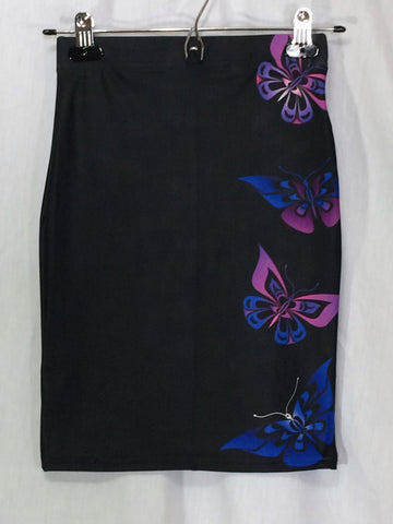 Butterfly Fitted Skirt Artistic Black - Ready to ship