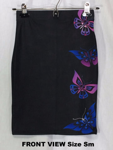 Butterfly Fitted Skirt (Artistic Black)