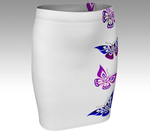 Butterfly Fitted Skirt (Artistic White) - Northern Dreams Clothing by Chelleen