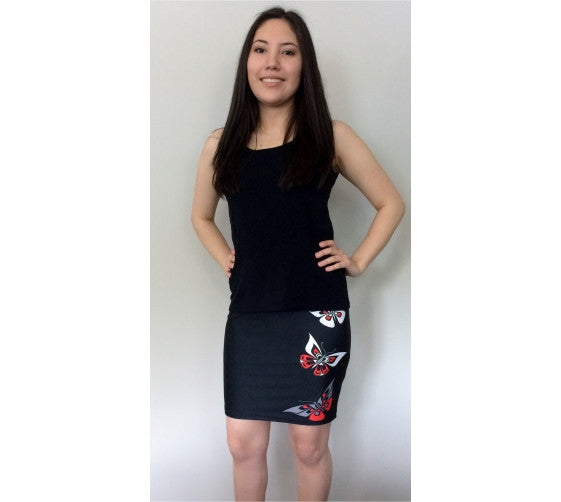 Butterfly Fitted Skirt (Traditional Black)