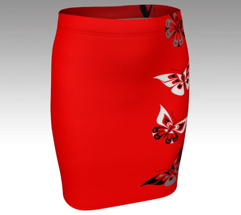 Butterfly Fitted Skirt (Traditional Red) - Northern Dreams Clothing by Chelleen