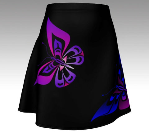 Butterfly Flare Skirt (Artistic Black) - Northern Dreams Clothing by Chelleen