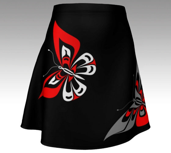 Butterfly Flare Skirt (Traditional Black) - Northern Dreams Clothing by Chelleen