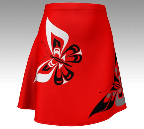 Butterfly Flare Skirt (Traditional Red) - Northern Dreams Clothing by Chelleen