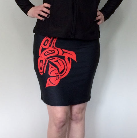 Orca Black Fitted Skirt (Red)