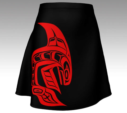 Killer Whale Black Flare Skirt  (Red) - Northern Dreams Clothing by Chelleen