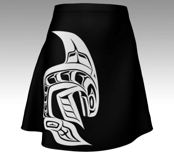 Killer Whale Black Flare Skirt  (White) - Northern Dreams Clothing by Chelleen