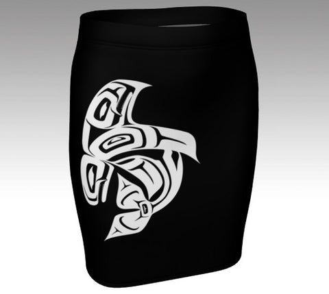 Orca Black Fitted Skirt (White) - Northern Dreams Clothing by Chelleen