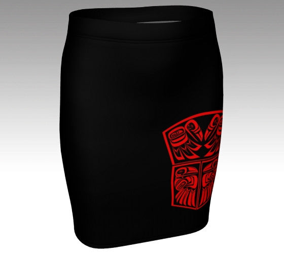 Raven Copper Shield Black Fitted Skirt (Red) - Northern Dreams Clothing by Chelleen