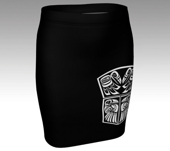 Raven Copper Shield Black Fitted Skirt (White) - Northern Dreams Clothing by Chelleen