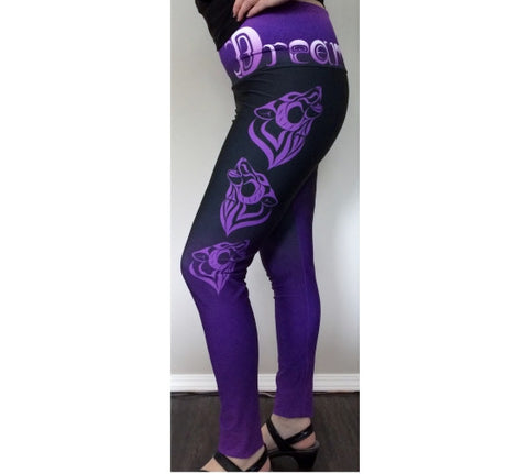Wolf Yoga Leggings Purple