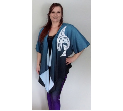 Killer Whale Silky Cardigan Teal Blue