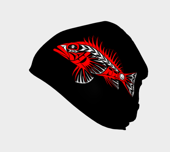 Rockfish Beanie Traditional Black - Northern Dreams Clothing by Chelleen