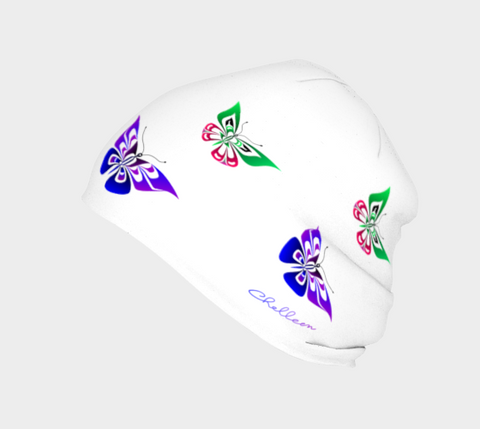 Butterfly Beanie Artistic White - Northern Dreams Clothing by Chelleen