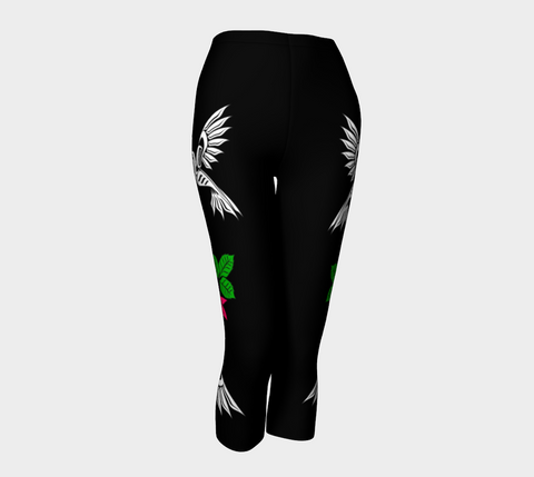 Hummingbirds Black Capris Pink Flowers (White) - Northern Dreams Clothing by Chelleen