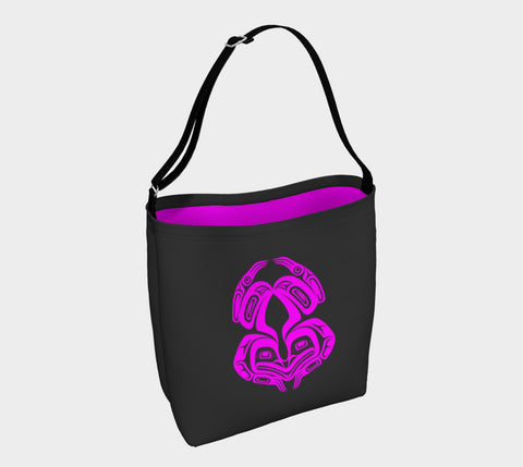 Frog Tote Bag Grey Magenta
