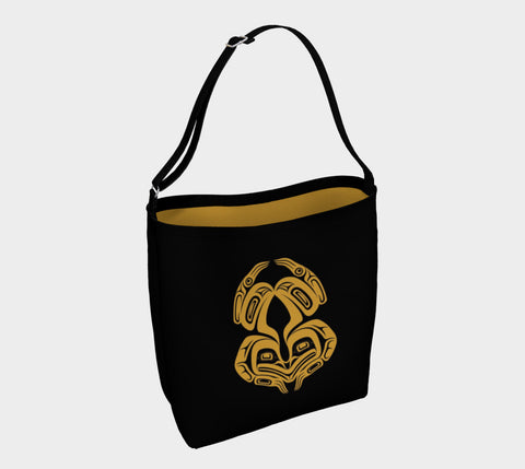 Frog Tote Bag Black Gold