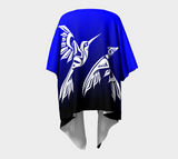 Hummingbird Silky Cardigan Blue - Northern Dreams Clothing by Chelleen