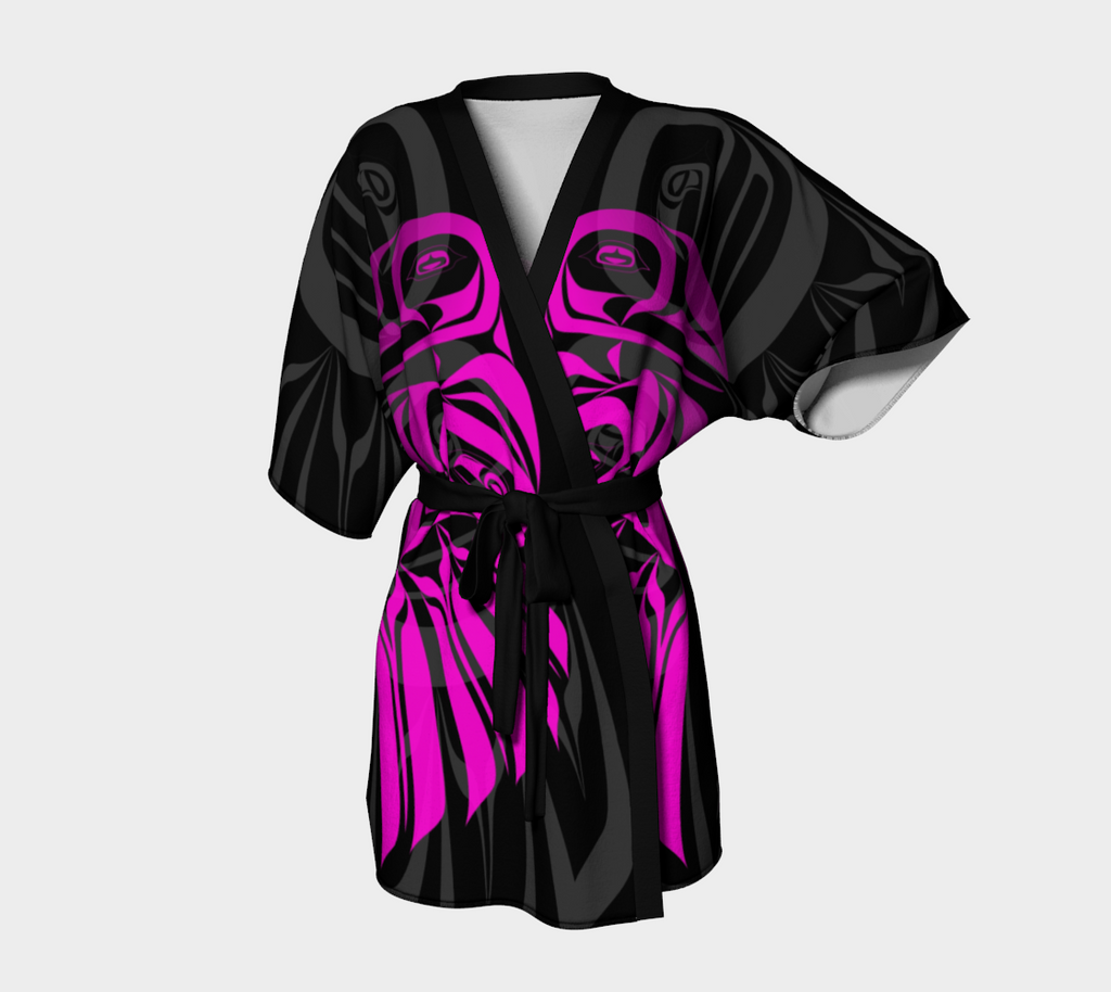 Raven Pink Kimono Robe (Dark) - Northern Dreams Clothing by Chelleen