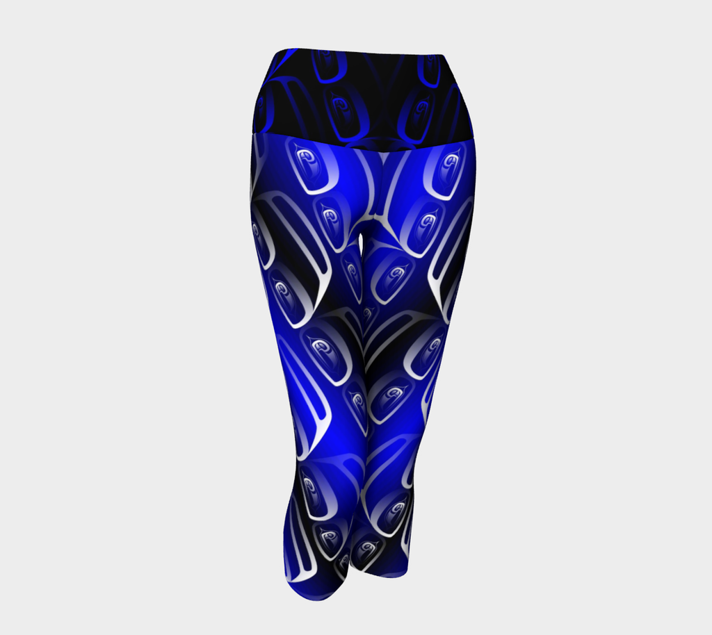 Ovoid Yoga Capris Blue - Northern Dreams Clothing by Chelleen
