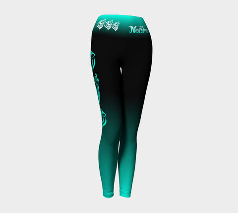 Wolf Yoga Leggings Aqua