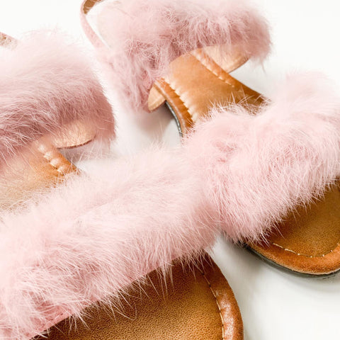 forever link shoes kidnly-15 pink faux fur fuzzy sandals