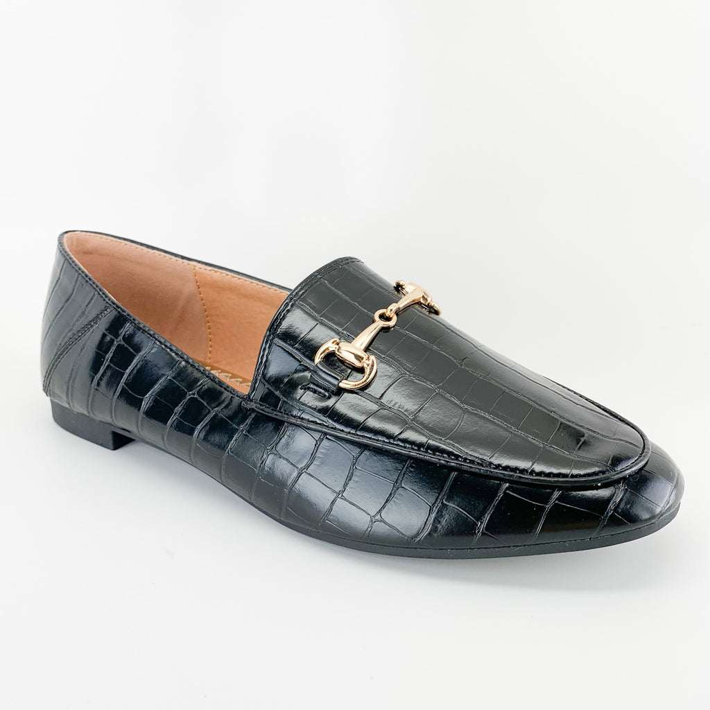 top moda astrid-1 black croc slip on loafer for women