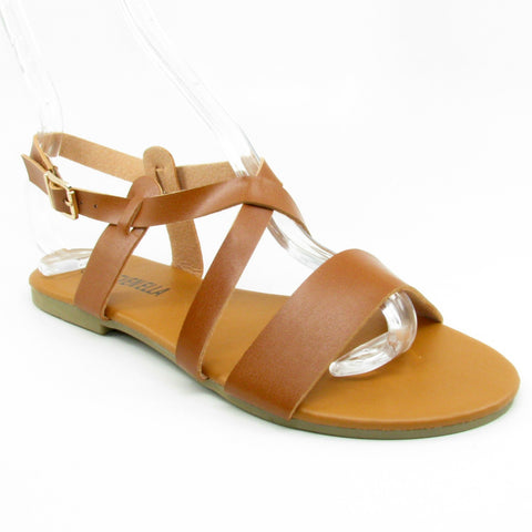 """Isla"" Ankle-strap Sandal (Black, White, Tan)"