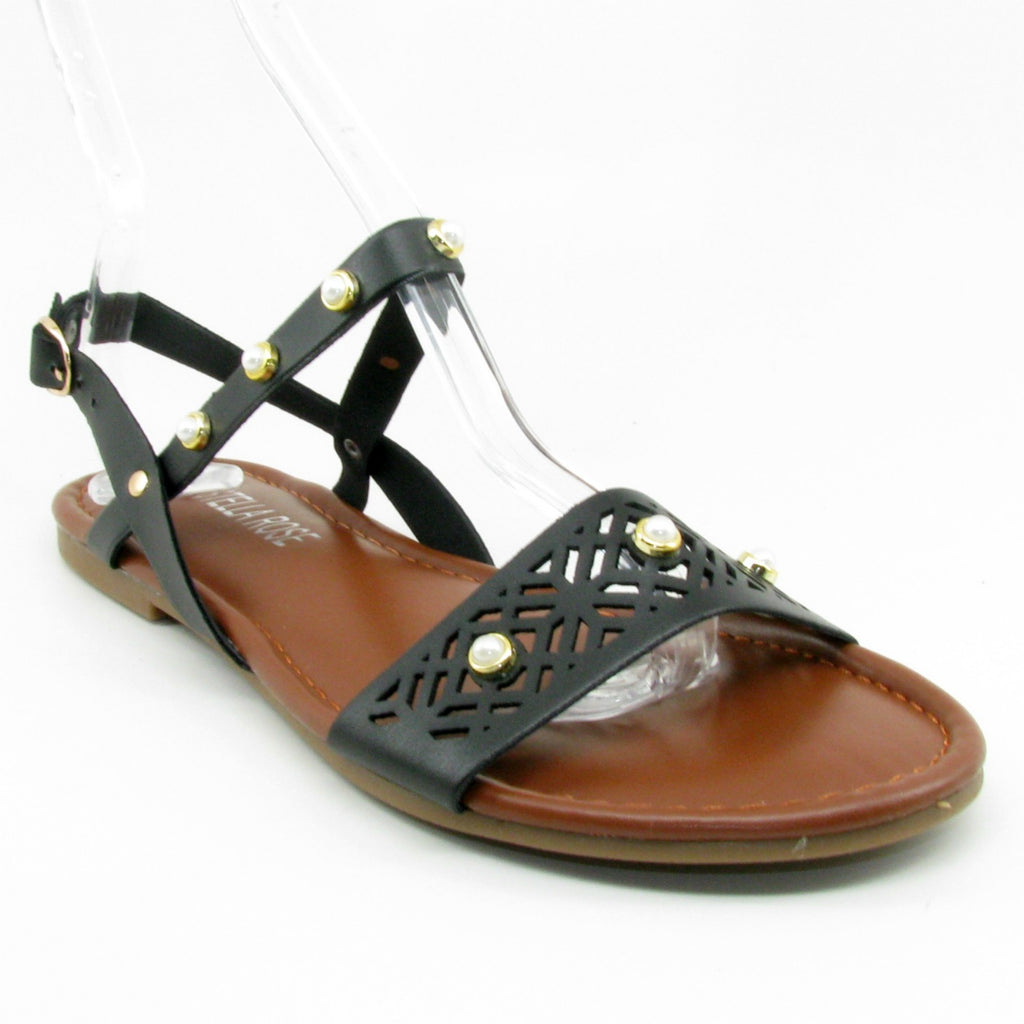 B16807 Steven Ella black ankle strap summer sandal with pearls