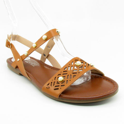 B16807 Steven Ella camel ankle strap summer sandal with pearls