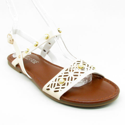 B16807 Steven Ella beige ankle strap summer sandal with pearls