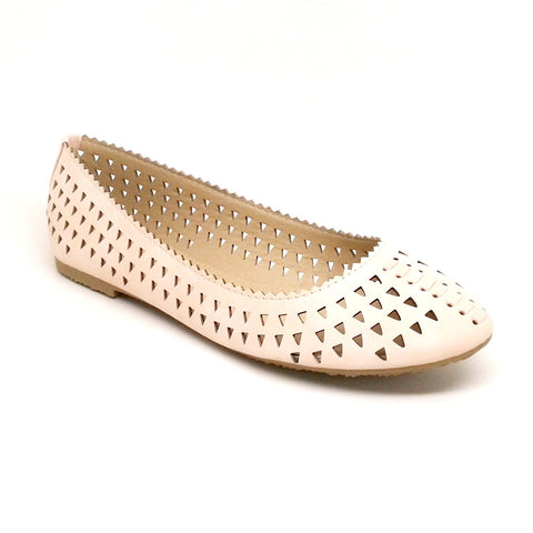 Women's Laser Cut Blush Color Flat