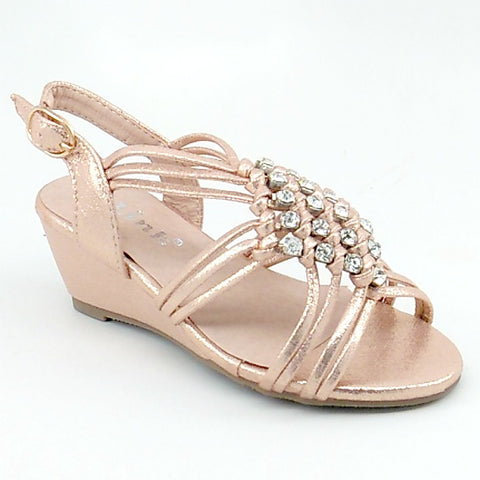 Girl's Rosegold Shimmery Wedge Sandal with Clear Rhinestones