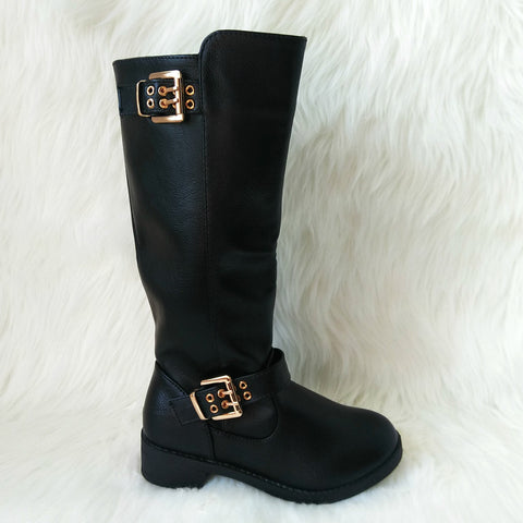 Girl's Black Tall Boot with Buckle Details