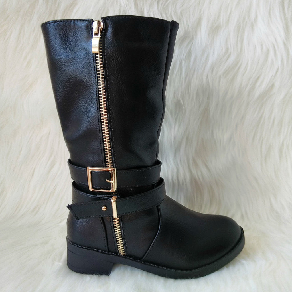 Girl's Black Boot with Zipper and Buckle Detail