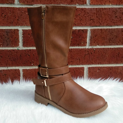 Girl's Tan Boots with Zipper and Buckles Detail