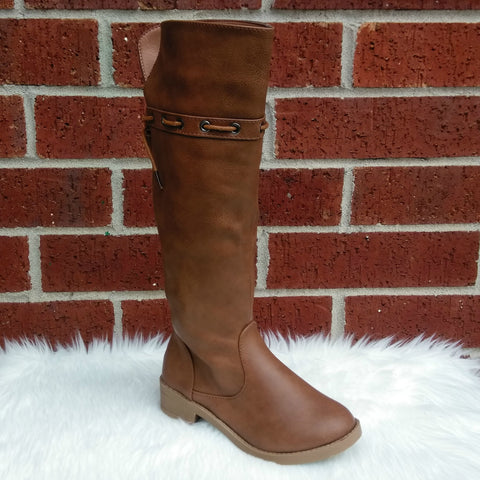 Girl's Tan Over the Knee Boots