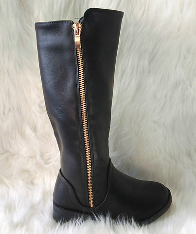 Girl's Black Boots with Gold Zipper